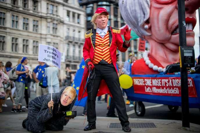 Lors d'une manifestation anti-Brexit, le 20 juillet à Londres.