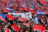 Des partisans du président Daniel Ortega célèbrent les 40 ans de la révolution sandiniste au Nicaragua, le 19 juillet.