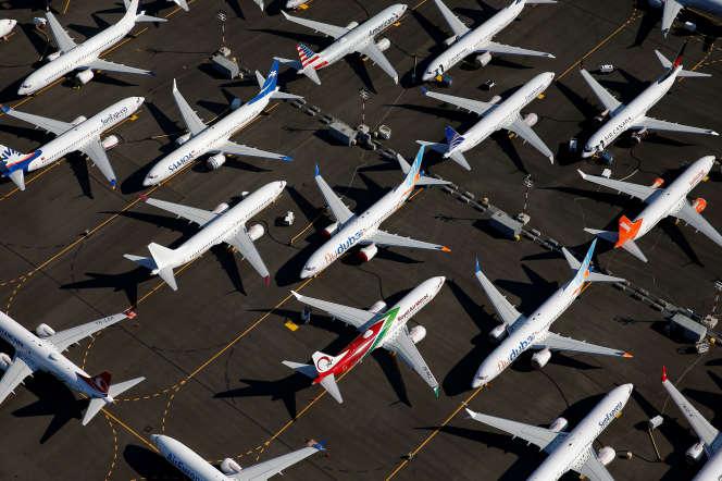 Des Boeing 737 MAX immobilisés au sol à Seattle (Etat de Washington, nord-ouest des Etats-Unis), le 1er juillet.