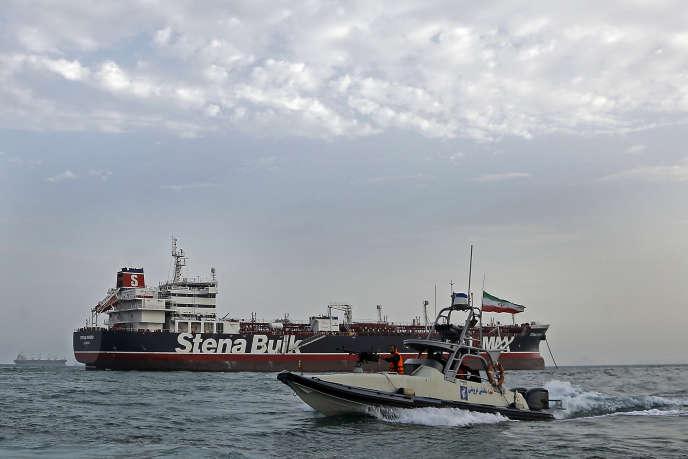 Le«Stena-Impero», un pétrolier suédois battant pavillon britannique arraisonné le 19 juillet, dans le port de Bandar Abbas, le 21 juillet.