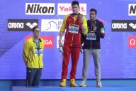 Podium du 400 m masculin aux Championnats du monde de natation, dimanche 21 juillet.