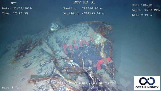 Image de l'épave de la « Minerve » qui a été retrouvée à 2 350 mètres de profondeur, au large de Toulon, le 22 juillet.