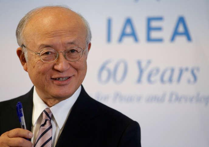 Le directeur de l'AIEA, Yukiya Amano, lors d'une conférence de presse, dans les locaux de l'agence à Vienne, le 11 septembre 2017.