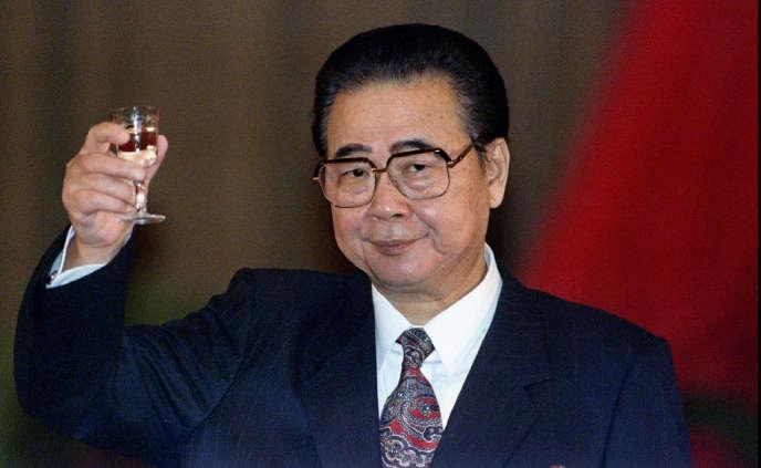 Li Peng, l'ancien premier ministre chinois, lors d'un banquet pour célébrer la 45e fête nationale en Chine, le 30 septembre 1994.