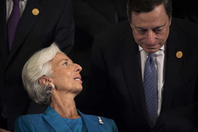 Christine Lagarde, directrice générale du FMI, et Mario Draghi, président de la BCE, le 24 juillet 2016, en Chine, lors d'une réunion du G20.