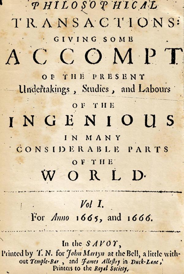 Couverture du premier numéro de «Philosophical Transactions», en 1665.