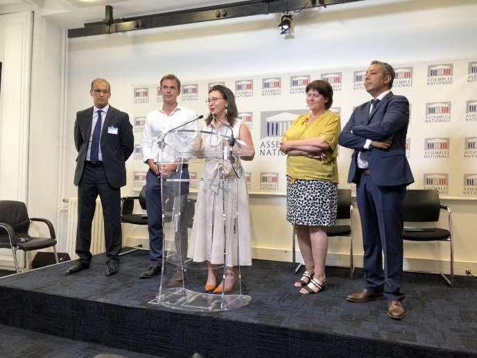 Conférence de presse au Parlementle 23 juillet 2019 avec Salem Fkire, président de l'association franco-marocaine Cap Sud MRE, et les députés (LMR) Olivier Véran,Fiona Lazaar, Michèle de Vaucouleurs (Modem) et Mustapha Laabid.