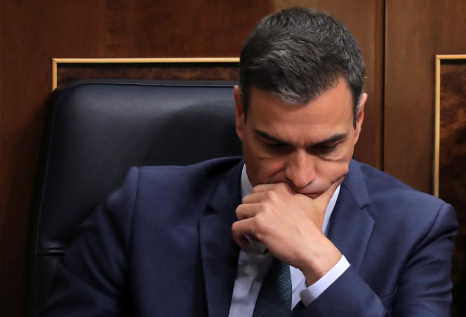 Le premier ministre espagnol par intérim, Pedro Sanchez, au Parlement de Madrid, le 25 juillet.