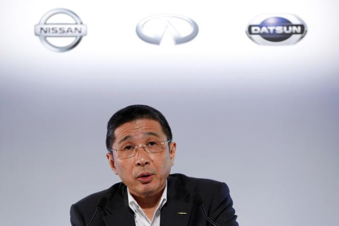 Hiroto Saikawa, PDG de Nissan, lors d'une conférence de presse pour présenter les résultats du premier trimestre au siège de la société à Yokohama, au Japon, le 25 juillet 2019.