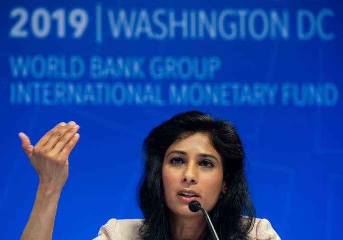 La chef économiste du FMI, Gita Gopinath, le 9 avril 2019, à Washington.