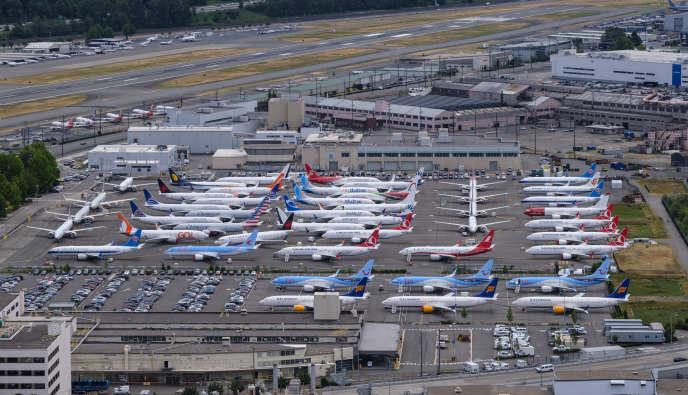 Des Boeing 737 MAX immobilisés au sol à Seattle (Etat de Washington, nord-ouest des Etats-Unis), le 27 juin.