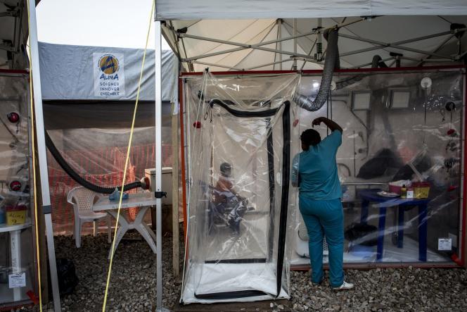 Le centre Ebola de l'ONG ALIMA, à Beni, dans l'est de la RDC, en août 2018.