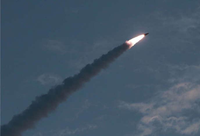 Photo du missile diffusée par l'agence de propagrande nord-coréenne, le 26 juillet.