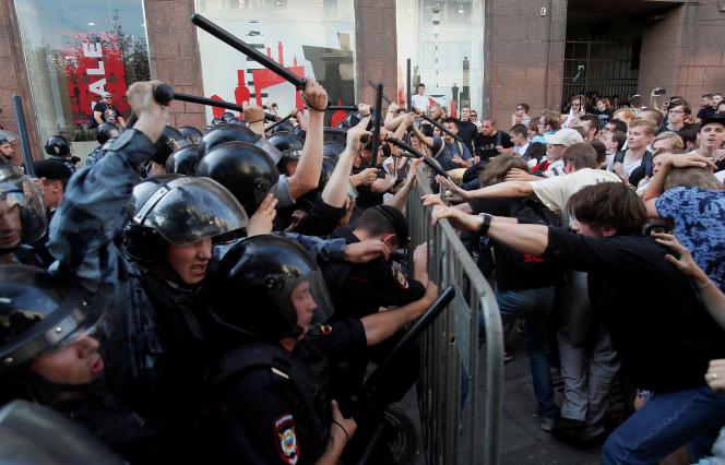 Lors d'une manifestation de l'opposition à Moscou, le 27 juillet.