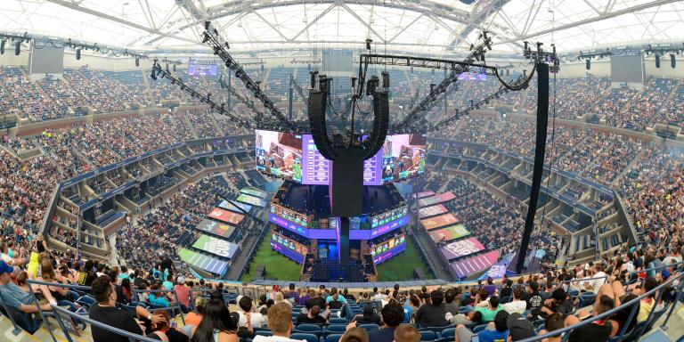 Jul 27, 2019; Flushing, NY, USA; A general view of Athur Ashe Stadium during the Fortnite World Cup Finals e-sports event at Arthur Ashe Stadium. Mandatory Credit: Dennis Schneidler-USA TODAY Sports