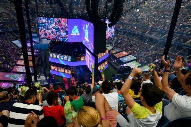 L'arène de l'Arthur Ashe Stadium, à New York, où se tenait la coupe du monde Fortnite, le 28 juillet.