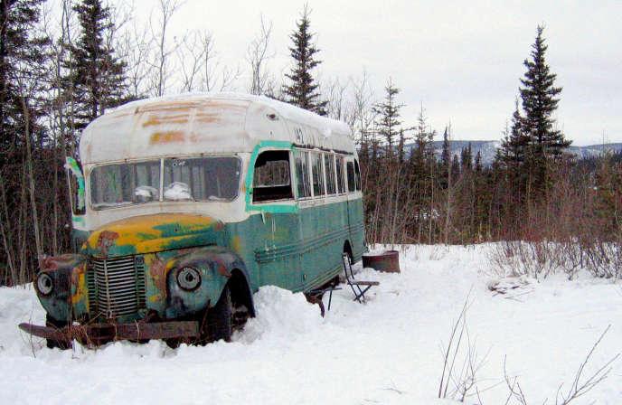 Le bus dans lequelChristopher McCandless est mort en1992, non loin de la piste Stampede, enAlaska.