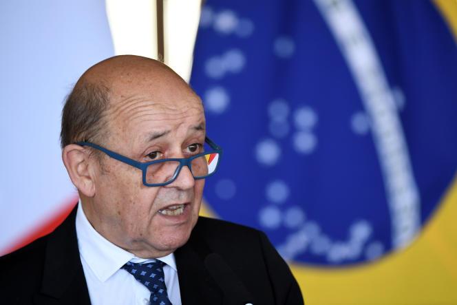 Jean-Yves Le Drian lors d'une conférence de presse à Brasilia, le 29 juillet.