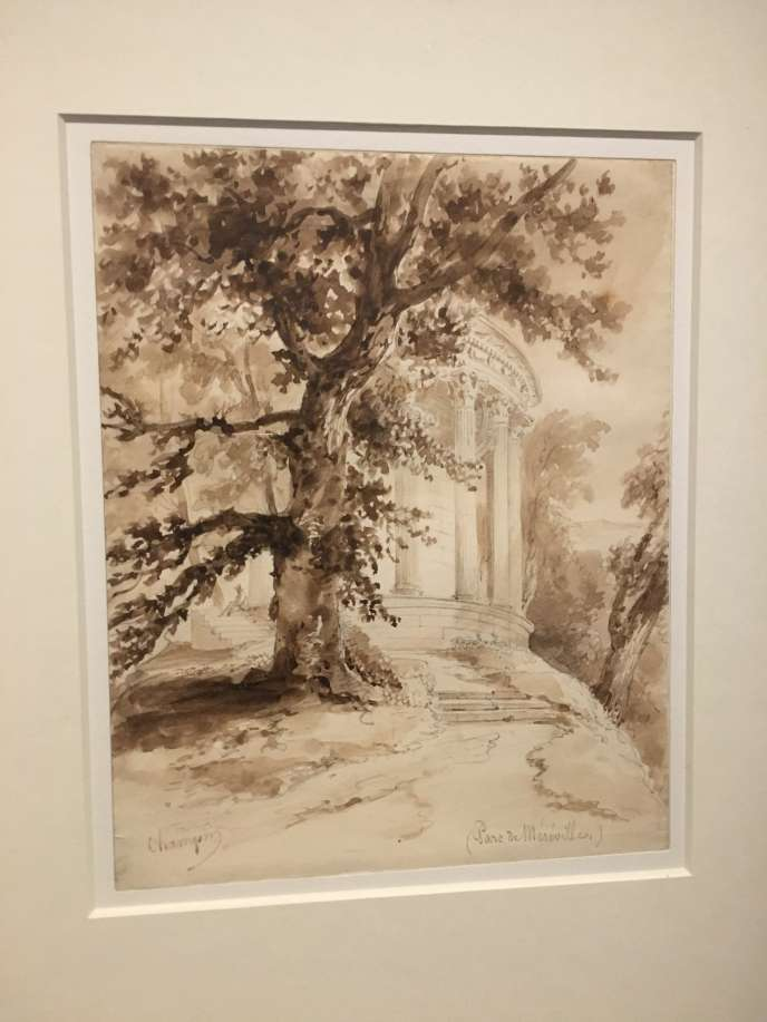 Jean-Jacques Champin,« Le Temple de la Piété filiale dans le parc de Méréville» (première moitié du XIXesiècle). Démonté, le temple a été reconstruit dans le parc de Jeurre, dans l'Essonne.