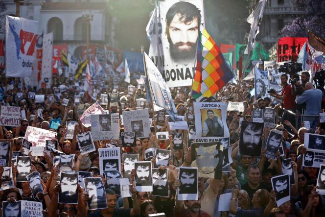 Manifestation pour demander la justice après la mort deSantiago Maldonado, en novembre 2017.