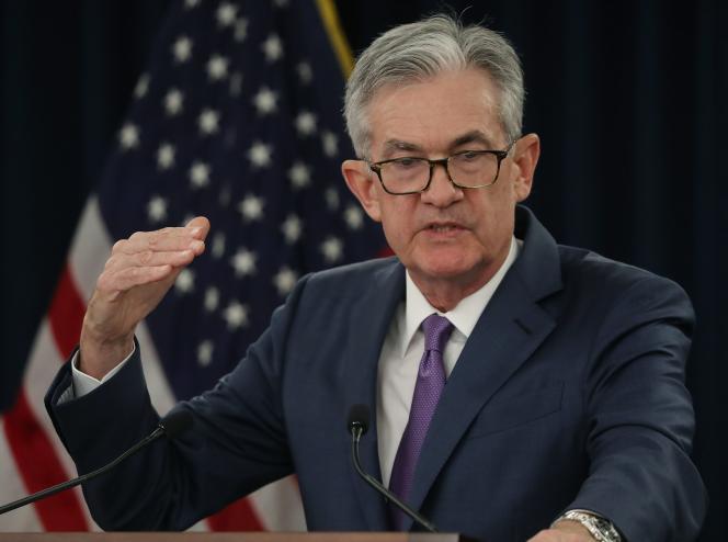 Le président de la Réserve fédérale,Jerome Powell, lors d'une conférence de presse à Washington, mercredi 31juillet.