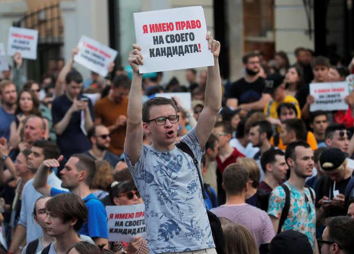 Manifestation contre le refus de certaines candidatures aux élections locales, à Moscou, le 27 juillet 2019.