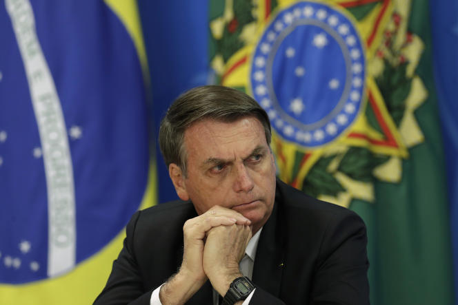 Le président brésilien, Jair Bolsonaro, lors d'une conférence de presse sur la déforestation en Amazonie, le 1er août.