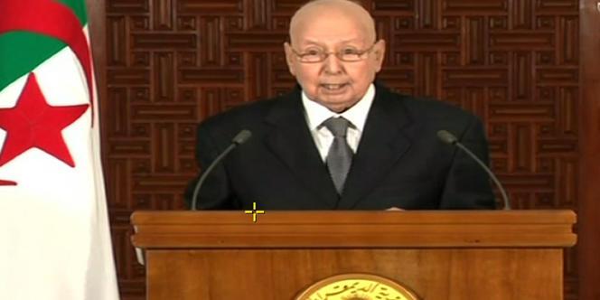 Le président algérien par intérim, Abdelkader Bensalah, le 3 juillet 2019 à la télévision nationale.