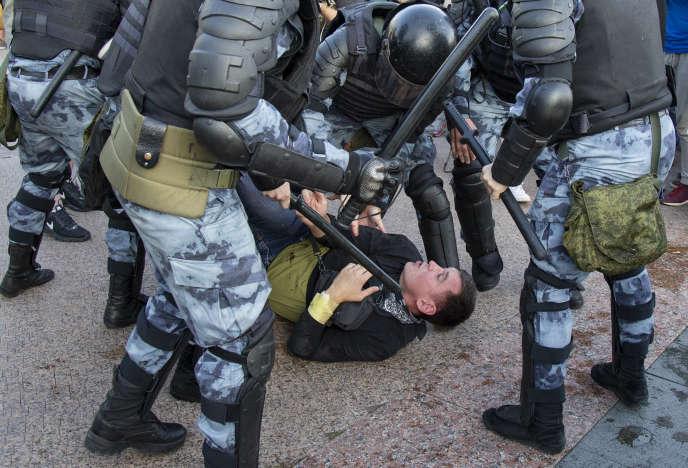 Lors d'une manifestation à Moscou, le 27 juillet.