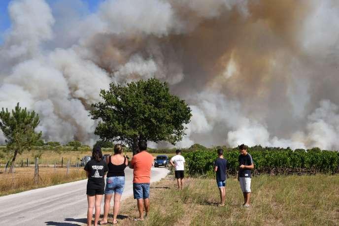 Un incendie ravage les alentours de Générac, dans le Gard, le 2 août.
