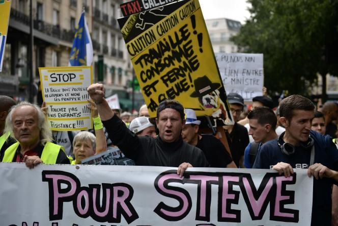 Manifestation à la mémoire de Steve Maia Caniço, le 3 août 2019, à Paris.