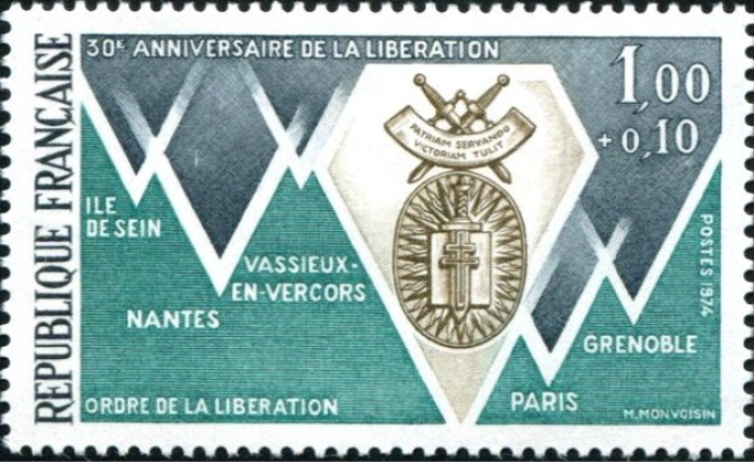 Timbre dessiné et gravé par Michel Monvoisin, paru en 1974, tiré à 4,2 millions.