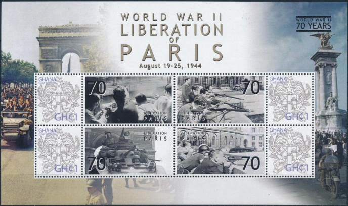 Le 70e anniversaire de la Libération, vu par la poste du Ghana.