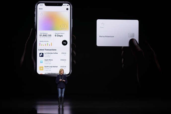 Présentation de l'Apple Card lors d'uneconférence d'Apple à Cupertino, en Californie, le 25 mars.