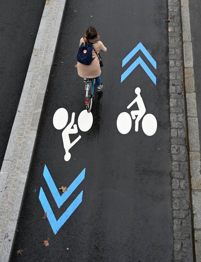 Un couloir dédié aux cyclistes, quai de la Prévalaye à Rennes, en novembre 2018.