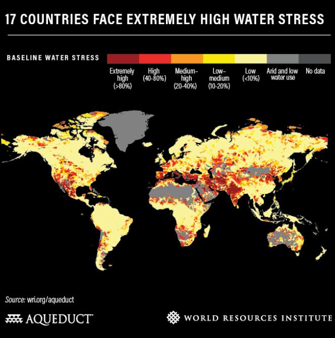 Dix-sept pays figurent sur la liste des pays présentant un «stress hydrique très élevé».