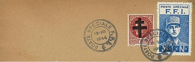 Détail d'une enveloppe utilisée en août 1944.