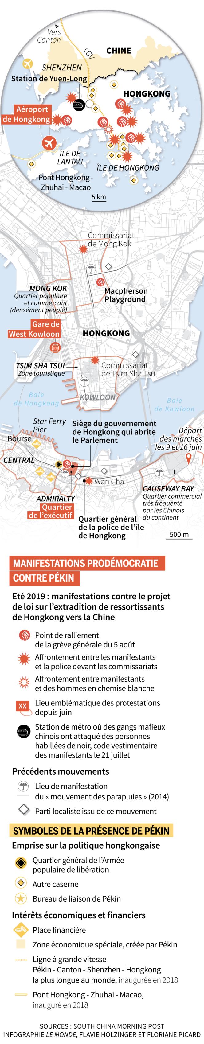 Carte de situation de HongKong, réalisée le 6 août 2019.