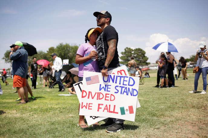 Manifestation lors de la venue de Donald Trump à El Paso, au Texas, le 7 août.