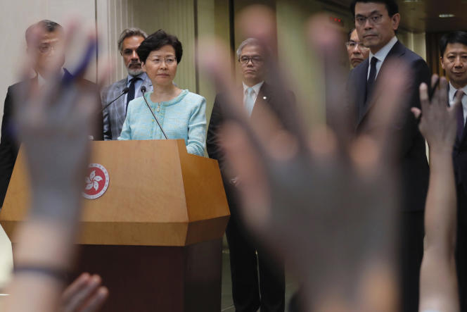 La chef de l'exécutif de Hongkong, Carrie Lam, lors d'une conférence de presse à Hongkong, le 9 août 2019.