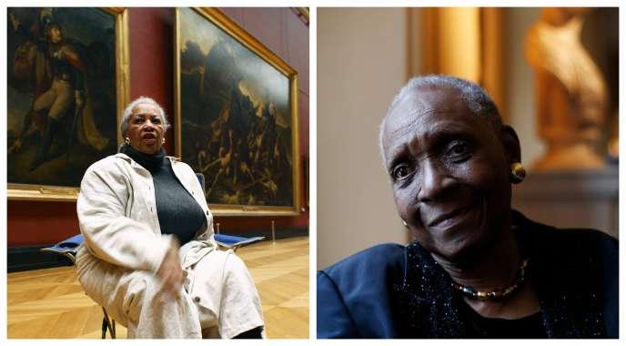 A gauche, Toni Morrison au musée du Louvre, à Paris, en 2006. A droite, Maryse Condé au Victoria and Albert Museum, à Londres, en 2015.
