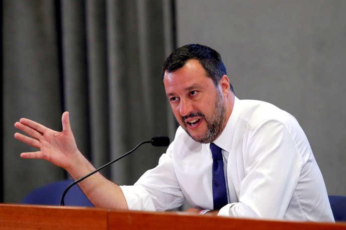 Matteo Salvini, lors d'une conférence de presse à Rome, le 15 juillet.
