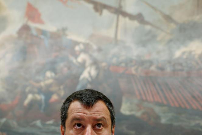 Matteo Salvini lors d'une conférence de presse dans la Chambre des députés, à Rome, le 25 juillet.