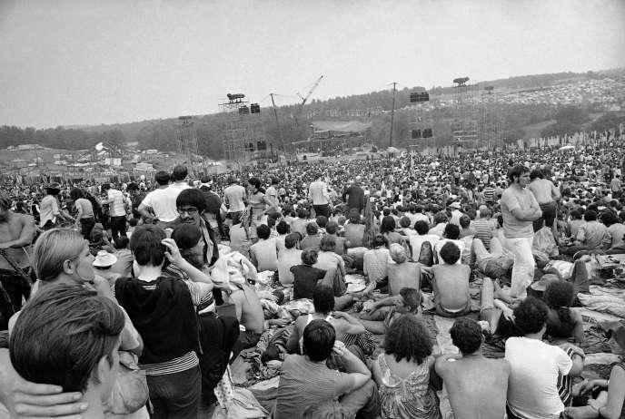 Lors du festival de Woodstock, le14 août 1969 à Bethel (New York).