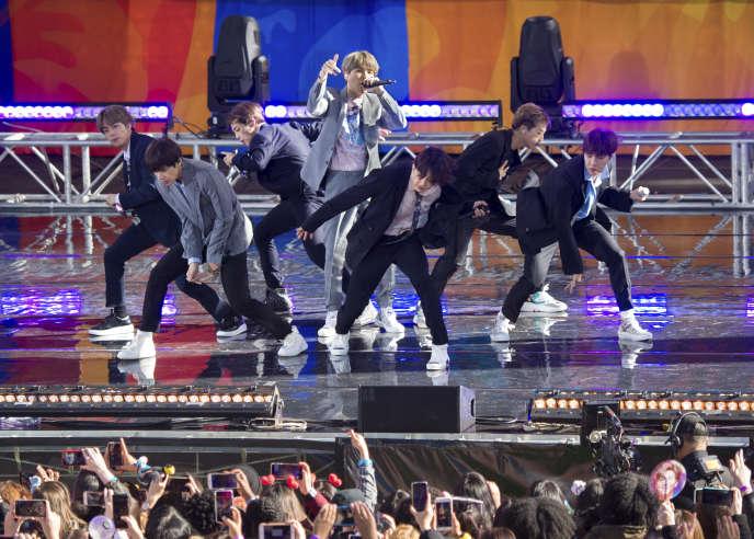 BTS lors d'un concert à Central Park,en mai 2019.