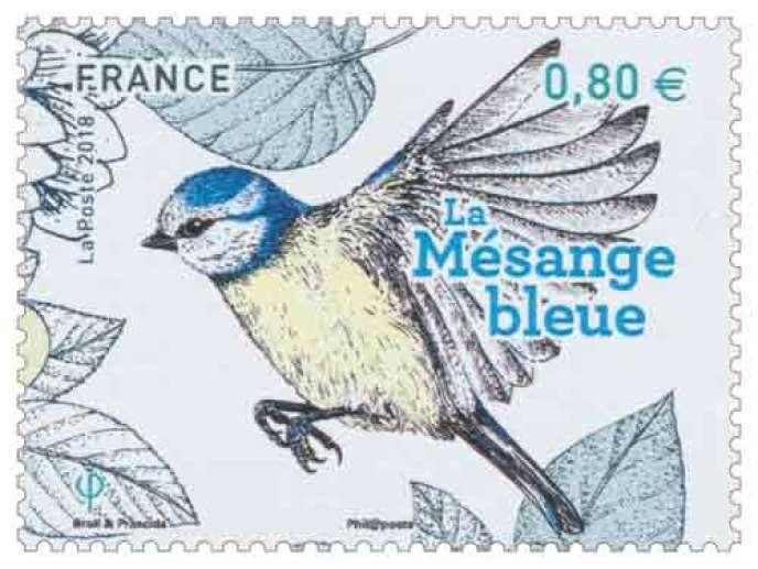 «La Mésange bleue», par Broll &Prascida, timbre imprimé en héliogravure.