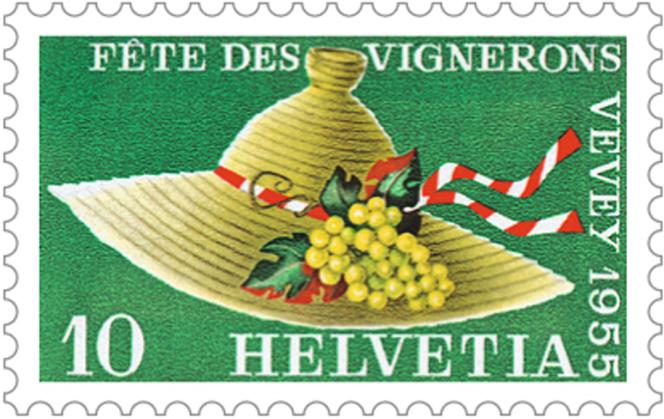 Timbre suisse paru en 1955 pour la Fête des vignerons, sujet d'un article publié par«Timbres magazine».