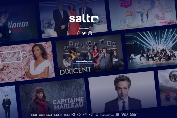 Page d'accueil du site Salto, plate-forme de streaming en ligne sur abonnement, créée par France Télévisions, TF1 et M6 pour concurrencer Netflix.