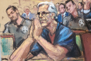 Dessin de Jeffrey Epstein devant la justice new-yorkaise, le 15 juillet.