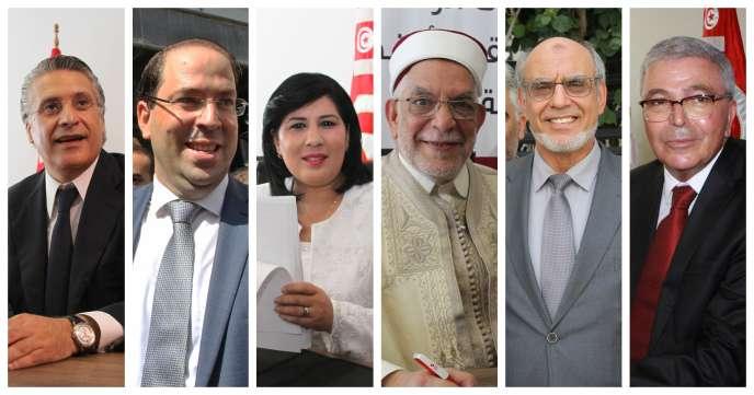 De gauche à droite: Nabil Karoui, Youssef Chahed, Abir Moussi, Abdelfattah Mourou, Hamadi Jebali etAbdelkrim Zbidi.